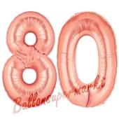 Zahl 80 Rosegold, Luftballons aus Folie zum 80. Geburtstag, 100 cm, inklusive Helium