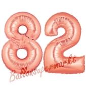 Zahl 82 Rosegold Luftballons aus Folie zum 82. Geburtstag, 100 cm, inklusive Helium