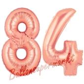 Zahl 84 Rosegold Luftballons aus Folie zum 84. Geburtstag, 100 cm, inklusive Helium
