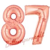 Zahl 87 Rosegold Luftballons aus Folie zum 87. Geburtstag, 100 cm, inklusive Helium
