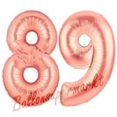 Zahl 89 Rosegold Luftballons aus Folie zum 89. Geburtstag, 100 cm, inklusive Helium