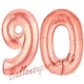Zahl 90 Rosegold, Luftballons aus Folie zum 90. Geburtstag, 100 cm, inklusive Helium