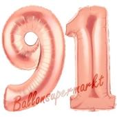 Zahl 91 Rosegold Luftballons aus Folie zum 91. Geburtstag, 100 cm, inklusive Helium