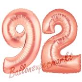 Zahl 92 Rosegold Luftballons aus Folie zum 92. Geburtstag, 100 cm, inklusive Helium