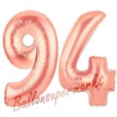 Zahl 94 Rosegold Luftballons aus Folie zum 94. Geburtstag, 100 cm, inklusive Helium