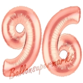Zahl 96 Rosegold Luftballons aus Folie zum 96. Geburtstag, 100 cm, inklusive Helium