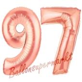 Zahl 97 Rosegold Luftballons aus Folie zum 97. Geburtstag, 100 cm, inklusive Helium