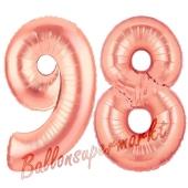 Zahl 98 Rosegold Luftballons aus Folie zum 98. Geburtstag, 100 cm, inklusive Helium