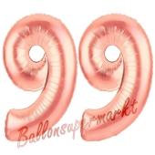 Zahl 99 Rosegold Luftballons aus Folie zum 99. Geburtstag, 100 cm, inklusive Helium