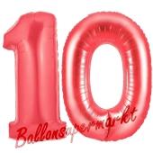 Zahl 10 Rot, Luftballons aus Folie zum 10. Geburtstag, 100 cm, inklusive Helium