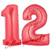Zahl 12 Rot, Luftballons aus Folie zum 12. Geburtstag, 100 cm, inklusive Helium