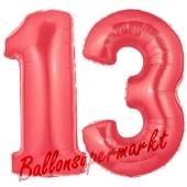 Zahl 13 Rot, Luftballons aus Folie zum 13. Geburtstag, 100 cm, inklusive Helium