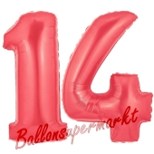 Zahl 14 Rot, Luftballons aus Folie zum 14. Geburtstag, 100 cm, inklusive Helium