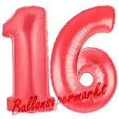 Zahl 16, Rot, Luftballons aus Folie zum 16. Geburtstag, 100 cm, inklusive Helium
