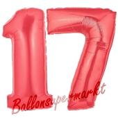 Zahl 17 Rot, Luftballons aus Folie zum 17. Geburtstag, 100 cm, inklusive Helium