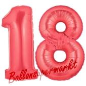 Zahl 18, Rot, Luftballons aus Folie zum 18. Geburtstag, 100 cm, inklusive Helium