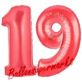 Zahl 19 Rot, Luftballons aus Folie zum 19. Geburtstag, 100 cm, inklusive Helium