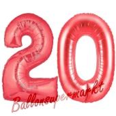 Zahl 20 Rot, Luftballons aus Folie zum 20. Geburtstag, 100 cm, inklusive Helium