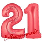 Zahl 21 Rot, Luftballons aus Folie zum 21. Geburtstag, 100 cm, inklusive Helium