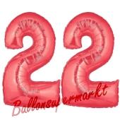 Zahl 22 Rot, Luftballons aus Folie zum 22. Geburtstag, 100 cm, inklusive Helium