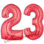 Zahl 23 Rot, Luftballons aus Folie zum 23. Geburtstag, 100 cm, inklusive Helium