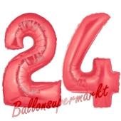 Zahl 24 Rot, Luftballons aus Folie zum 24. Geburtstag, 100 cm, inklusive Helium