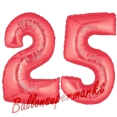 Zahl 25 Rot, Luftballons aus Folie zum 25. Geburtstag, 100 cm, inklusive Helium