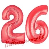 Zahl 26 Rot, Luftballons aus Folie zum 26. Geburtstag, 100 cm, inklusive Helium