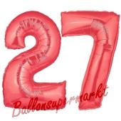 Zahl 27 Rot, Luftballons aus Folie zum 27. Geburtstag, 100 cm, inklusive Helium