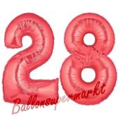 Zahl 28 Rot, Luftballons aus Folie zum 28. Geburtstag, 100 cm, inklusive Helium