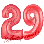 Zahl 29 Rot, Luftballons aus Folie zum 29. Geburtstag, 100 cm, inklusive Helium