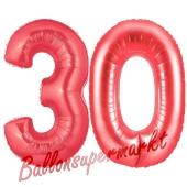 Zahl 30, Rot, Luftballons aus Folie zum 30. Geburtstag, 100 cm, inklusive Helium
