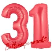 Zahl 31 Rot, Luftballons aus Folie zum 31. Geburtstag, 100 cm, inklusive Helium