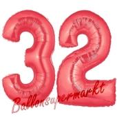 Zahl 32 Rot, Luftballons aus Folie zum 32. Geburtstag, 100 cm, inklusive Helium