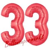 Zahl 33 Rot, Luftballons aus Folie zum 33. Geburtstag, 100 cm, inklusive Helium