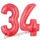 Zahl 34 Rot, Luftballons aus Folie zum 34. Geburtstag, 100 cm, inklusive Helium