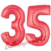 Zahl 35 Rot, Luftballons aus Folie zum 35. Geburtstag, 100 cm, inklusive Helium