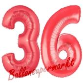 Zahl 36 Rot, Luftballons aus Folie zum 36. Geburtstag, 100 cm, inklusive Helium