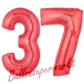 Zahl 37 Rot, Luftballons aus Folie zum 37. Geburtstag, 100 cm, inklusive Helium