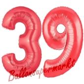 Zahl 39 Rot, Luftballons aus Folie zum 39. Geburtstag, 100 cm, inklusive Helium