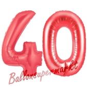 Zahl 40, Rot, Luftballons aus Folie zum 40. Geburtstag