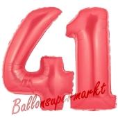 Zahl 41 Rot, Luftballons aus Folie zum 41. Geburtstag, 100 cm, inklusive Helium