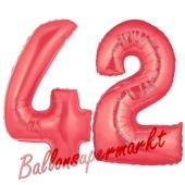Zahl 42 Rot, Luftballons aus Folie zum 42. Geburtstag, 100 cm, inklusive Helium