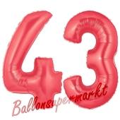 Zahl 43 Rot, Luftballons aus Folie zum 43. Geburtstag, 100 cm, inklusive Helium