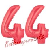 Zahl 44 Rot, Luftballons aus Folie zum 44. Geburtstag, 100 cm, inklusive Helium