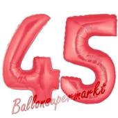 Zahl 45 Rot, Luftballons aus Folie zum 45. Geburtstag, 100 cm, inklusive Helium