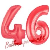 Zahl 46 Rot, Luftballons aus Folie zum 46. Geburtstag, 100 cm, inklusive Helium