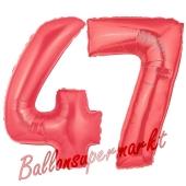 Zahl 47 Rot, Luftballons aus Folie zum 47. Geburtstag, 100 cm, inklusive Helium