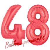 Zahl 48 Rot, Luftballons aus Folie zum 48. Geburtstag, 100 cm, inklusive Helium