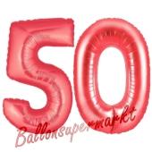 Zahl 50, Rot, Luftballons aus Folie zum 50. Geburtstag